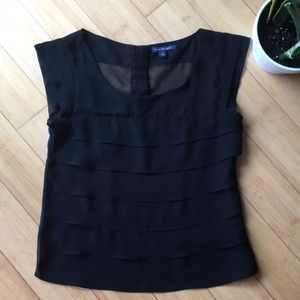 American eagle black sheer panel blouse